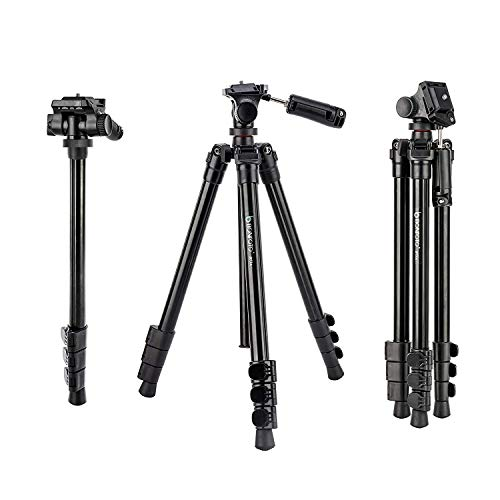 BONFOTO B73A 58inch Portable Heavy Duty Lightweight Aluminum Camera Video Tripod with 1/4