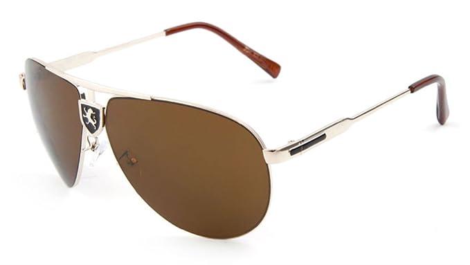 9e4718580b Amazon.com  Khan Gradient Lens Aviator Sunglasses (Gold   Black ...