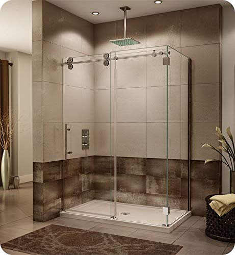 Fleurco KTWR5536-11-40L-AY Kinetik In-Line Sliding Shower Door Left with Fixed and Return Panel in Polished Stainless/Clear Glass Handles:Straight Round Towel Bar