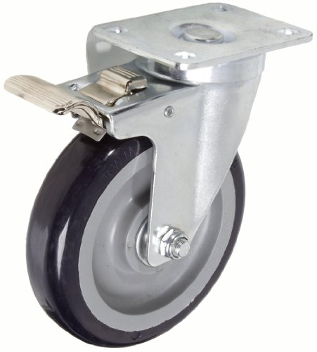 """RWM Casters VersaTrac 27 Series Plate Caster, Swivel with Brake & Lock, Urethane on Polypropylene Wheel, Ball Bearing, 300 lbs Capacity, 5"""" Wheel Dia, 1-1/4"""" Wheel Width, 6-5/16"""" Mount Height, 3-3/4"""" Plate Length, 2-5/8"""" Plate Width from RWM Casters"""