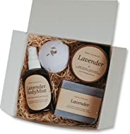 Bearhug Naturals Lavender Spa Set for Women - All Natural Vegan, Self Care Spa Git Box Ideas for Mom and Women