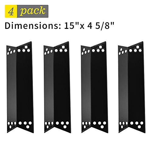 SHINESTAR Gas Grill Replacement Parts for Nexgrill, Kenmore, Charbroil, Thermos, Tera Gear, 4-pack Porcelain Steel Heat Plate Shield Tent, Burner Cover Flame Tamer (15 x 4 5/8 Inch)(SS-HP008) - Steel Flames Shield