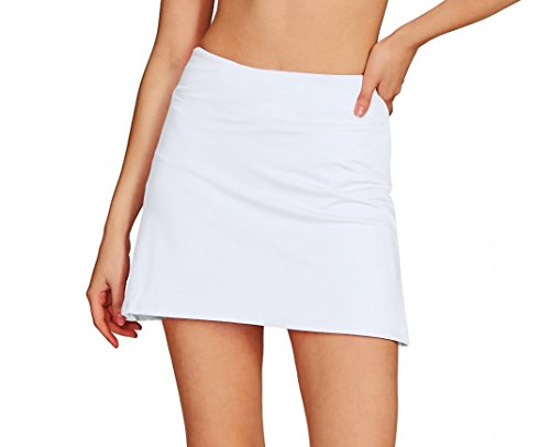 (Cityoung Women's Casual Pleated Tennis Golf Skirt with Underneath Shorts Running Skorts wh s)