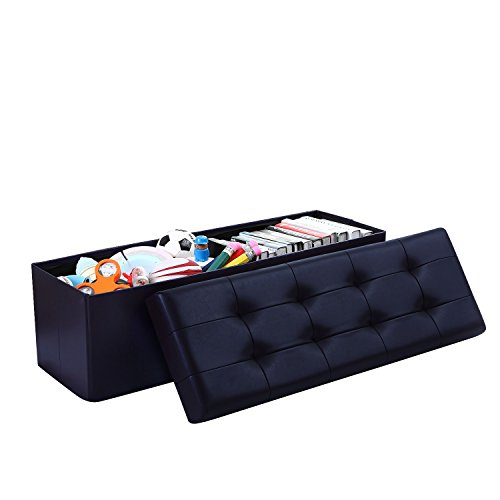(Home Sweet Home Ottoman Faux Leather Bench Folding Box Storage (Large Size 15'' x 45'' x 15'', Navy))
