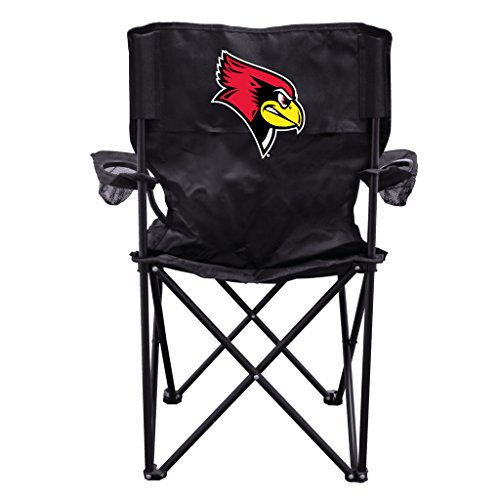 Illinois State University Redbird Logo Black Folding Camping Chair with Carry Bag