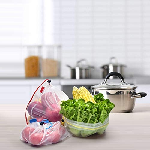 Mipruct 24 pack Reusable Produce Bags,Reusable produce luggage for grocery,mesh luggage See-Through and Washable Grogery Bags with 3 Sizes helpful for garage culmination,greens,toys……