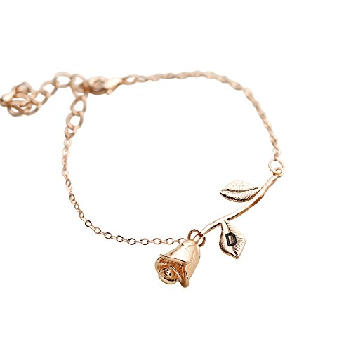 Flower Pendant Bracelet (Rose Gold Plated Rose Pendant Bracelet Beauty and the Beast Jewelry Rose Bracelet Bridesmaid Bracelet Gift Flower Girl Gift - 3MRBR (D))