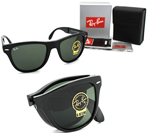 New Authentic Ray-Ban RB 4105 601 54mm Wayfarer Folding Black with green - Reflective Bans Ray