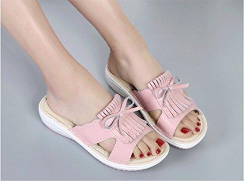 Rose AWXJX Tongs Femme Chaussures été Pente en Plein air mi-Talon Similicuir Plage Beige 5.5 US 35.5 EU 3 UK 5.5 US 35.5 EU 3 UK