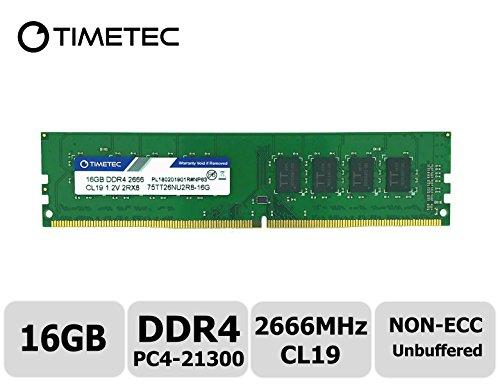 Desktop Memory Pin (Timetec Hynix IC 16GB DDR4 2666MHz PC4-21300 Unbuffered Non-ECC 1.2V CL19 2Rx8 Dual Rank 288 Pin UDIMM Desktop Memory RAM Module Upgrade (16GB))