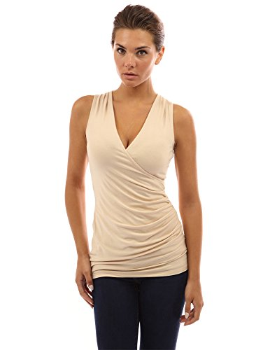 Top V-neck Stretched Tank - PattyBoutik Women's V Neck Ruched Side Tank Top (Beige XL)