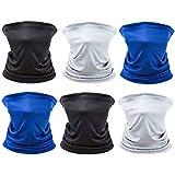 [6 Pack] Unisex Sun UV Protection Face Bandana, Reusable Motorcycle Half Mask Scarf Neck Gaiter Balaclava for Men Women
