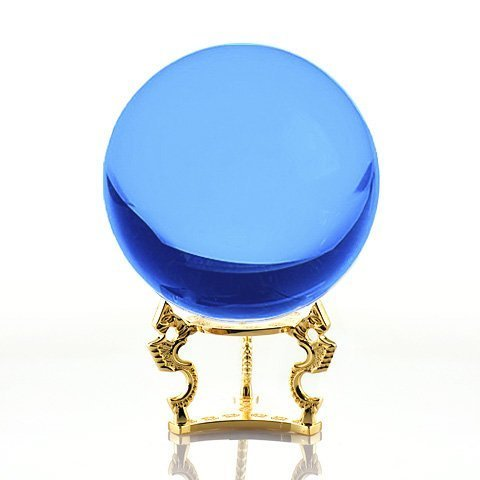 Amlong Crystal Aqua Crystal Ball 110mm (4.2 in.) Including Golden Dragon Stand and Gift Package