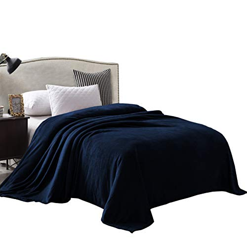Exclusivo Mezcla Queen Size Flannel Fleece Velvet Plush Bed Blanket as Bedspread/Coverlet/Bed Cover (90 x 90, Navy Blue) - Soft, Lightweight, Warm and Cozy