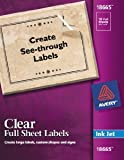 """Avery Matte Frosted Clear Full Sheet Labels for Inkjet Printers, 8.5"""" x 11"""", 10 Labels (18665)"""