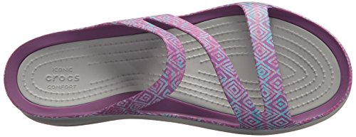 Crocs Womens Swiftwater Graphique Sandale Améthyste Diamant / Gris Clair