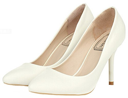 Idifu Womens Confortable Talons Aiguilles Stiletto Bout Pointu Slip Sur Les Chaussures À Coupe Basse Chaussures Blanc