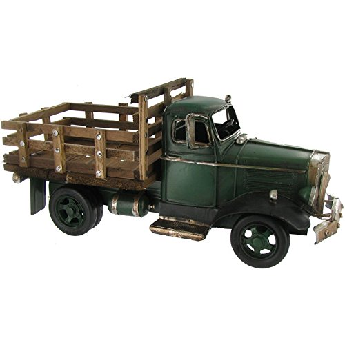 Green Truck with Wooden Flat Bed Decor