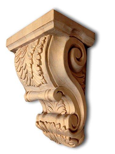 Large Acanthus Leaf Design Bar Island Wood Corbel Solid Maple - Island Leg Corbel