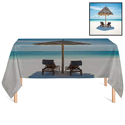 SATVSHOP Dinning Tabletop Decoration /70x156 Rectangular,Seaside Wooden Sun Loungers Facing The Ocean Under A Thatched Umbrella in Zanzibar Turquoise Cream.for Wedding/Banquet/Restaurant.