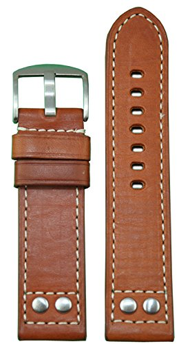 20mm xl panatime rou genuine oiled leather pilot watch band with brush rivets and white stitching 125/85 20/20. - 41yhlTJUQWL - 20mm XL Panatime Rou Genuine Oiled Leather Pilot Watch Band with Brush Rivets and White Stitching 125/85 20/20.