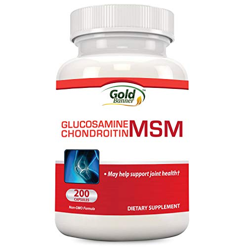 Glucosamine Chondroitin MSM Supplement, 200 Capsules, Made in USA, GMP Compliant Facility, May Support Joint Health - Gold Banner (Banner Joint)