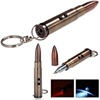 Ball-point Bullet Pen Key Chain with Flashlight and LED Laser