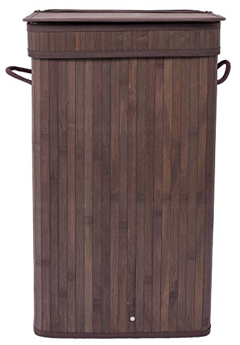 BirdRock Home Square Laundry Hamper with Lid and Cloth Liner | Bamboo | Espresso | Easily Transport Laundry Basket | Collapsible Hamper | String Handles by BirdRock Home (Image #8)