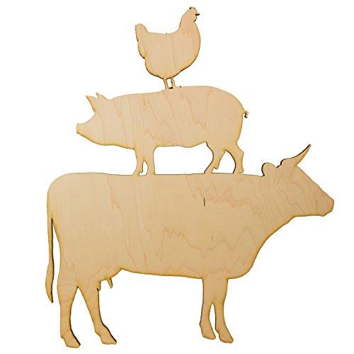 Farm Animals Raw Wood Cutout 13x14 Wall Art by Hip Flask Plus
