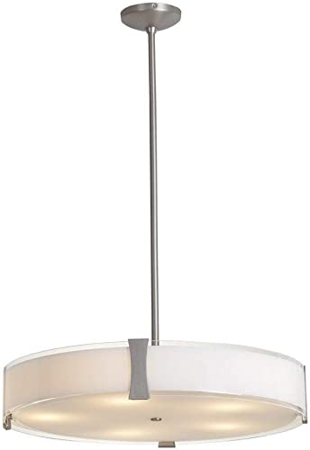 Tara – Pendant – Brushed Steel Finish – Opal Glass Shade