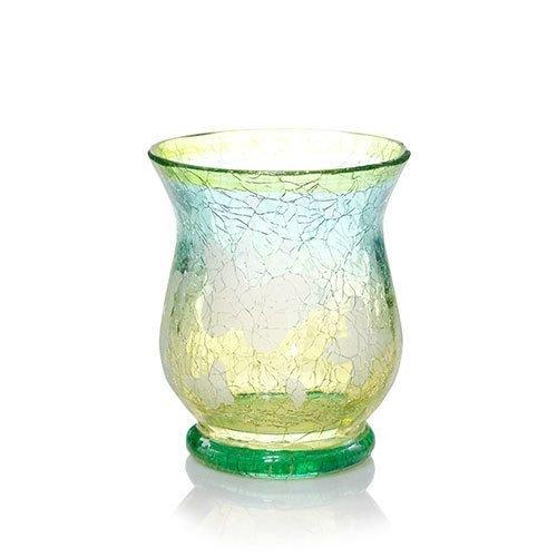 Flutterby Crackle Glass Hurricane Votive Holder