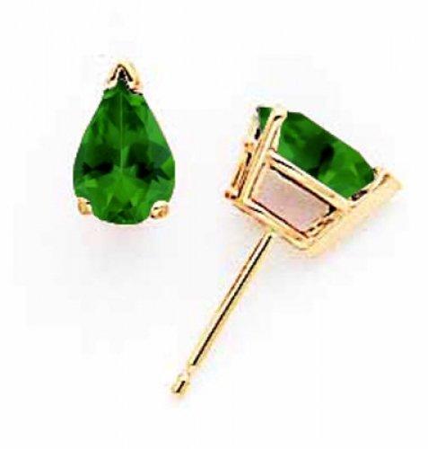14k Yellow Gold Green Tourmaline Earrings Stud-earrings ()
