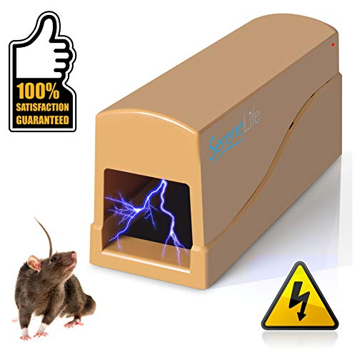 SereneLife Electronic Humane Mouse Trap Zapper - Indoor Safe Electric and Battery Powered Rat Bait Zap Traps w/Metal Plates, LED Light, Safely Kill Small Rodent Rats Mice Squirrel Chipmunk PSLEMK5