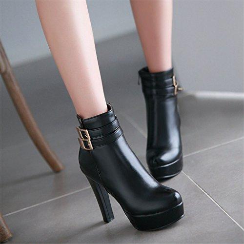 QX e del alto los de Invierno tacón zapatos ZQ elegante hebilla redonda Botas gruesa con Otoño black cabeza grande cinturón dECfTvqw
