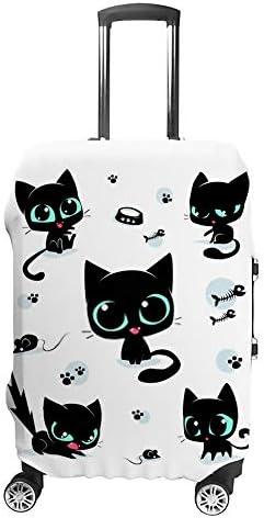 スーツケースカバー トラベルケース 荷物カバー 弾性素材 傷を防ぐ ほこりや汚れを防ぐ 個性 出張 男性と女性かわいい黒猫