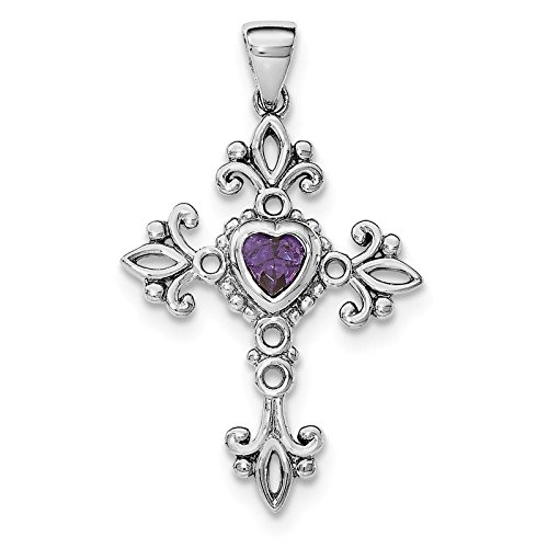 925 Sterling Silver Rhodium-plated w/Amethyst Cross Charm Pendant