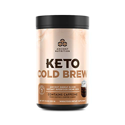 Ancient Nutrition KetoCOLDBREW Energy Elixir Powder, 20 Servings, Keto Diet Supplement, Hydrolyzed Collagen Peptides, MCTs from Coconut, Coffee Beans, Energy Booster