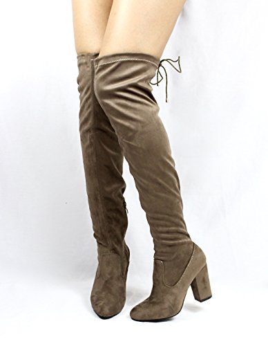Jacobies Over The Knee Chunky High Heel Block Chunky Thigh High Round Toe Boots Taupe (Nia) qRO2Jb