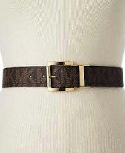 Michael Kors 553143 Women's Gold Tone Buckle Brown Leather Belt Mk Logo Size X-large ()