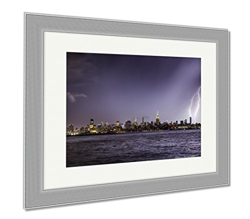 Ashley Framed Prints Lightning Hitting A New York City Skyscraper At Twilight Stormy Skies Over, Wall Art Home Decoration, Color, 34x40 (frame size), Silver Frame, - Shade And Nyc Manhattan Glass