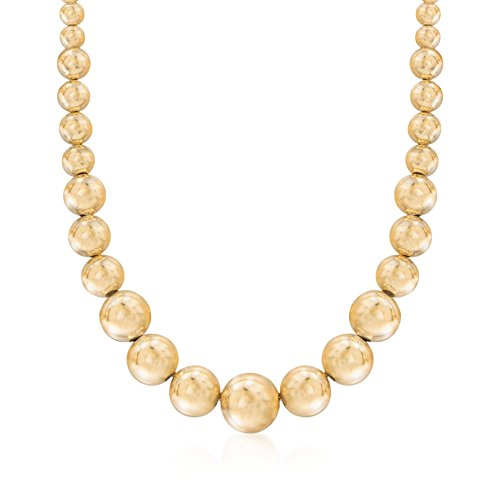 Graduated Gold Bead (Ross-Simons Italian 6-14mm 18kt Gold Over Sterling Silver Graduated Bead Necklace)