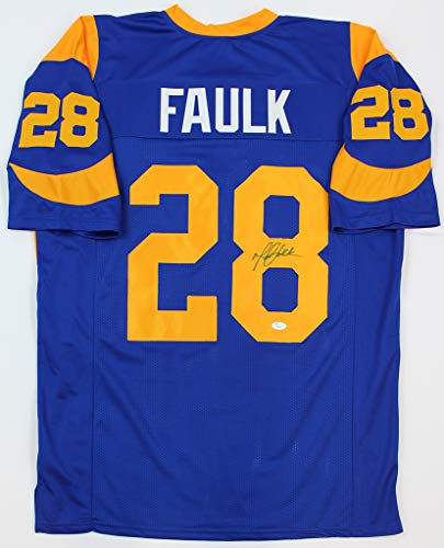Marshall Faulk Autographed Blue St. Louis Rams Jersey - Hand Signed By Marshall Faulk and Certified Authentic by JSA - Includes Certificate of Authenticity