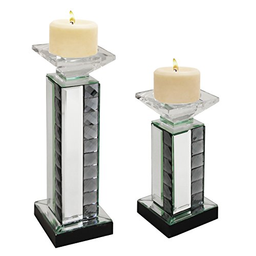 Urban Designs Crystal Mirror Glass Candle Holder Set (Set of 2) by Urban Designs