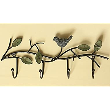 Kerchair Retro Birds Design Metal Wall Mounted Decorative Clothes Hooks 4 Hook for Hanger Hats Clothes Towel