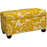 Skyline Furniture Walnut Hill Storage Bench in Gerber Sungold Fabric