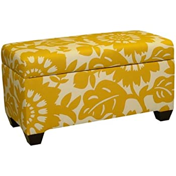 This Item Skyline Furniture Walnut Hill Storage Bench In Gerber Sungold  Fabric
