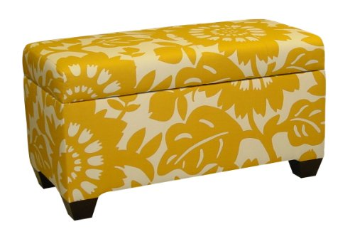 Upholstered Furniture Bench Skyline - Skyline Furniture Walnut Hill Storage Bench in Gerber Sungold Fabric