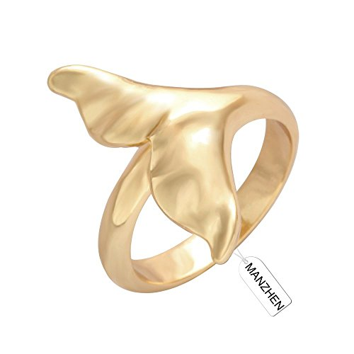 MANZHEN Gold Dolphin Whale Tail Wrap Ring Minimalist Charm Ring for Women(8)