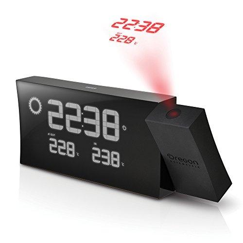 Oregon Bullet - Oregon Scientific BAR223PN/BOXBK Prysma Weather Forecaster Atomic Projection Clock, Black