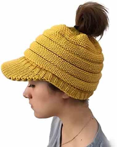 SUKEQ Women Knit Messy High Bun Ponytail Visor Beanie Cap Stretch Chunky  Warm Hat bee998b80294